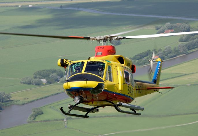 The AB-412 SP Search and Rescue is nicknamed 'Tweety' because of it bright yellow colour