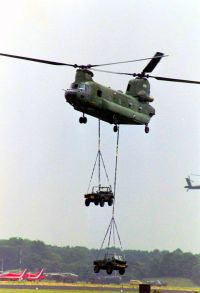 Chinook with two jeeps as slung load