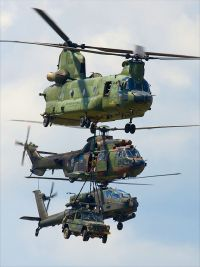A Chinook in front of a Cougar and an Apache